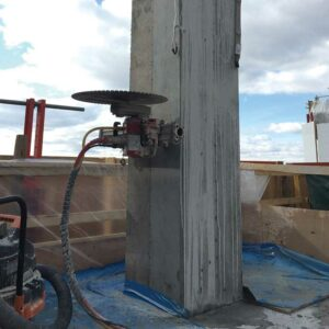 Concrete cutting edmonton - image of saw set up to cut concrete pillar