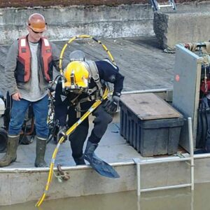 Image of diver from walser contracting about to perform some heavy industrial concrete work