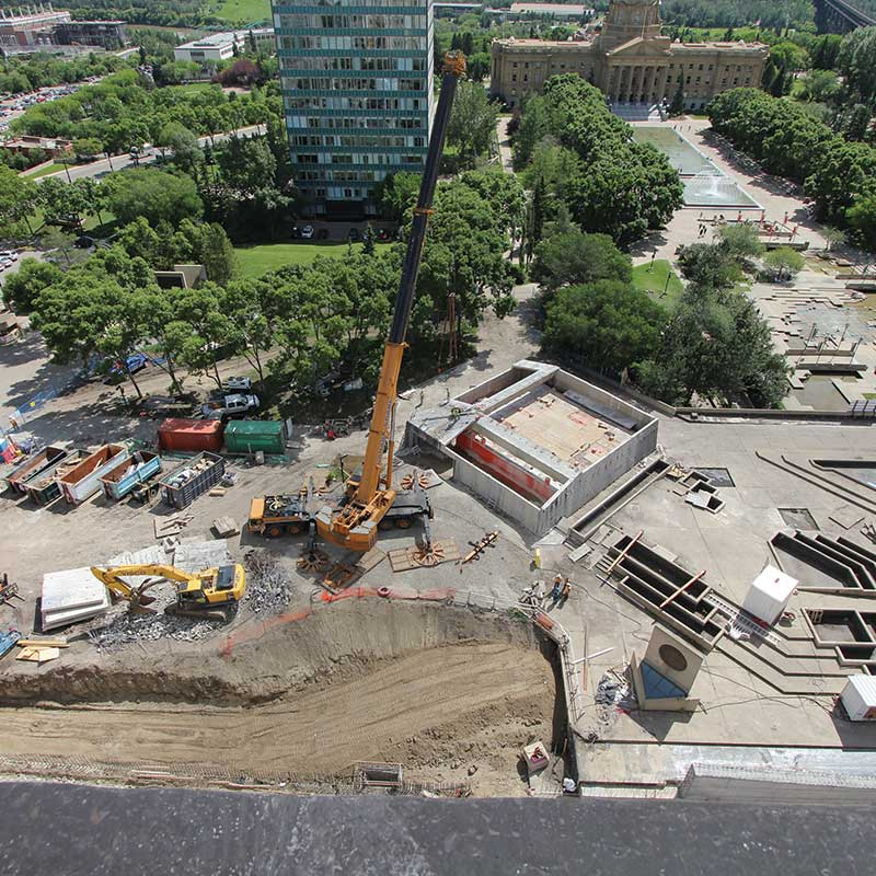 Concrete contractor walser contracting working on edmonton legislature grounds